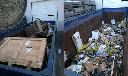 Trash compaction for distribution centers